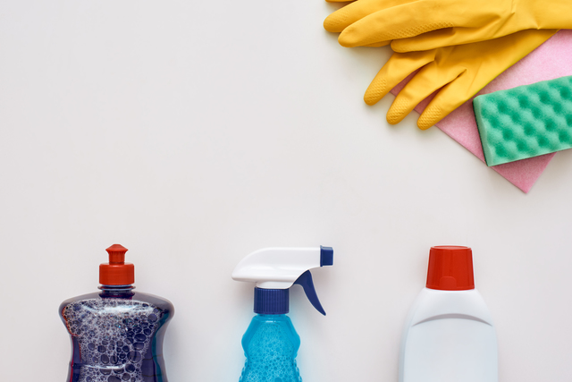Stay clean. Cleaning gloves, sponges and other cleaning tools isolated.