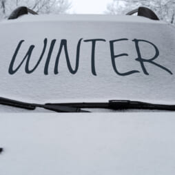 Parked car with snow